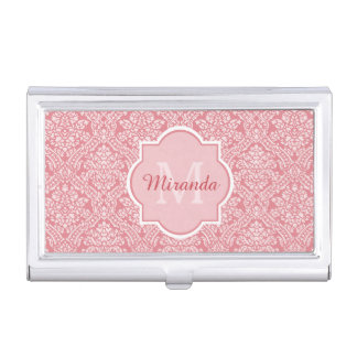 Elegant Monogram Feminine Pink Damask With Name Business Card Holder