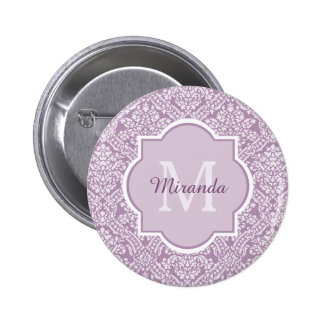 Elegant Monogram Feminine Purple Damask With Name 6 Cm Round Badge