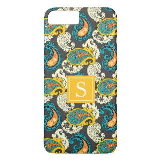 Elegant Monogram Filigree Paisley Swirls Turquoise iPhone 8 Plus/7 Plus Case