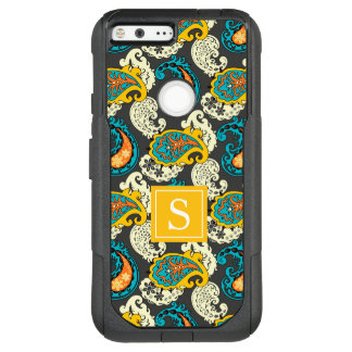 Elegant Monogram Filigree Paisley Swirls Turquoise OtterBox Commuter Google Pixel XL Case