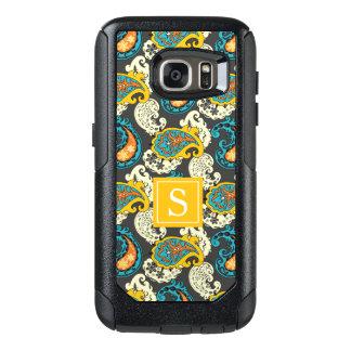 Elegant Monogram Filigree Paisley Swirls Turquoise OtterBox Samsung Galaxy S7 Case