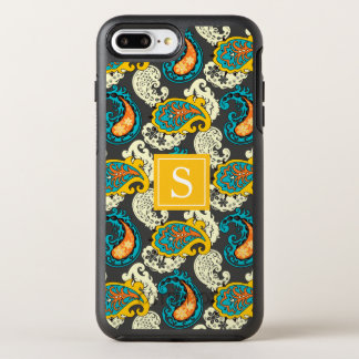 Elegant Monogram Filigree Paisley Swirls Turquoise OtterBox Symmetry iPhone 8 Plus/7 Plus Case