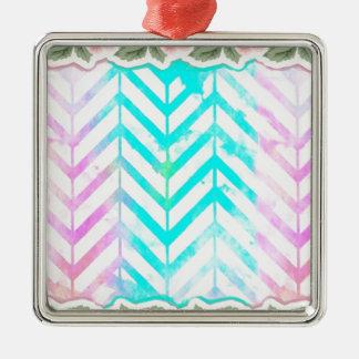 Elegant Monogram Floral pink and blue Metal Ornament
