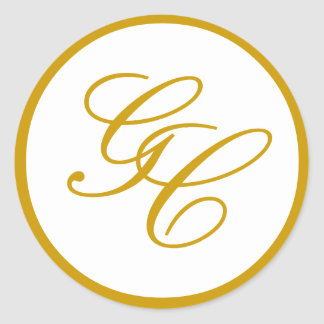 Elegant Monogram Gold and White Wedding Sticker