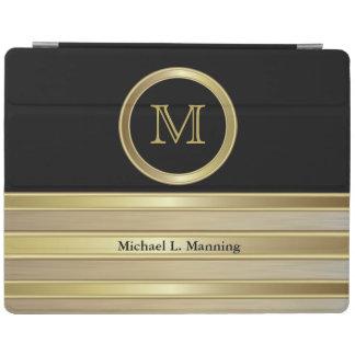 Elegant Monogram Gold Brush and Black iPad Cover