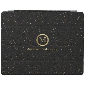 Elegant Monogram Gold Confetti on Black iPad Cover