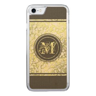Elegant Monogram Gold Foil Dark Taupe Brown Wood Carved iPhone 8/7 Case