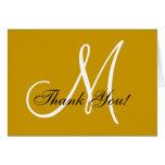 Elegant Monogram Gold Thank You Card