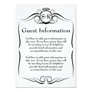 Elegant Monogram Guest Information Card