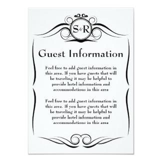Elegant Monogram Guest Information Card 11 Cm X 16 Cm Invitation Card