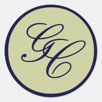 Elegant Monogram Initial Navy & Taupe Wedding Seal