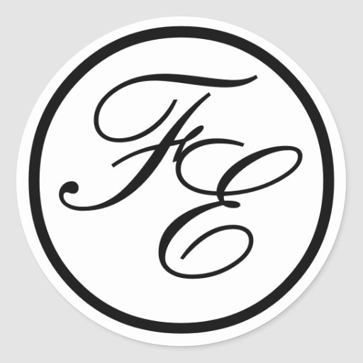 Elegant Monogram Initials Wedding Sticker