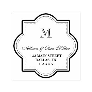 Elegant Monogram Name & Address Self-inking Stamp