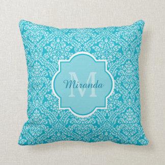 Elegant Monogram Name Feminine Turquoise Damask Pillows