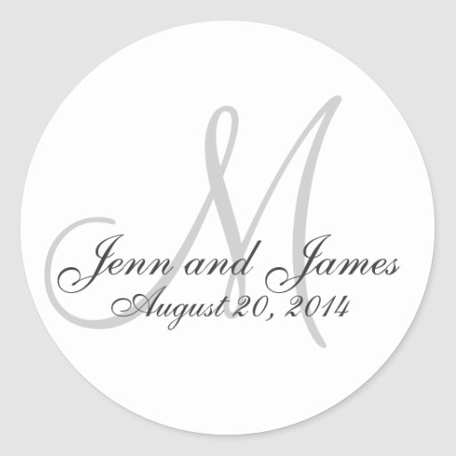 Elegant Monogram Names Date Wedding Favour Sticker