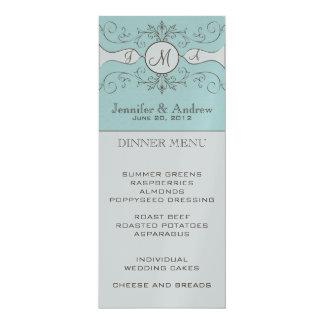 Elegant Monogram Names Wedding Menu Card Silver 10 Cm X 24 Cm Invitation Card