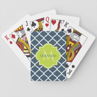 Elegant Monogram Navy Green Quatrefoil and Name Playing Cards