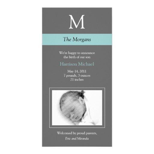 Elegant Monogram New Baby Photo Card - Gray/Blue