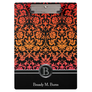 Elegant Monogram Orange & Pink Floral Damask Clipboard
