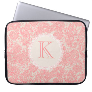 Elegant Monogram Paisley Designer Laptop Bag