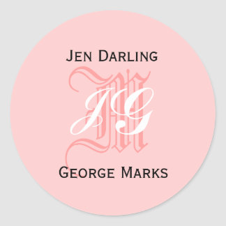 Elegant Monogram Pink, Black, White Wedding Seal