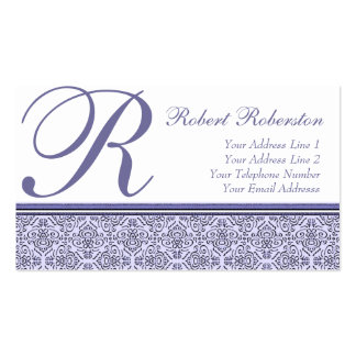 Elegant Monogram R Lilac Purple Pattern Pack Of Standard Business Cards