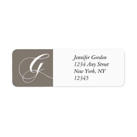 Elegant Monogram Return Address Label Grey Silver