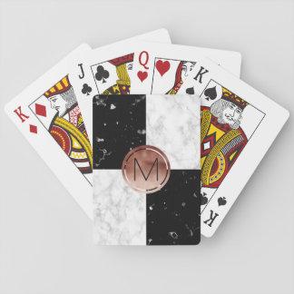 Elegant monogram rose gold black white marble playing cards