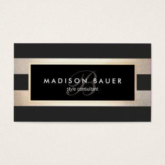 Elegant Monogram Striped Black and FAUX Gold Foil