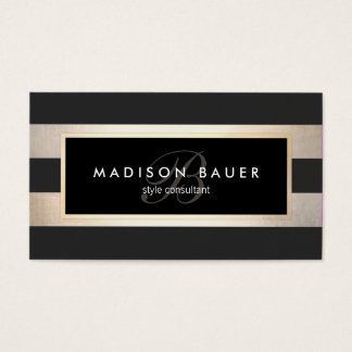 Elegant Monogram Striped Black and FAUX Gold Foil Business Card