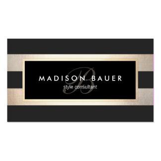 Elegant Monogram Striped Black and FAUX Gold Foil Pack Of Standard Business Cards