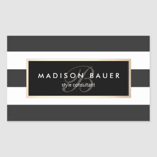 Elegant Monogram Striped Black and White Rectangular Sticker