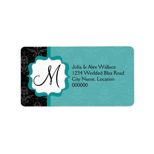 Elegant Monogram Teal Damask Address Label