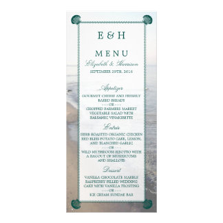 Elegant Monogram & Teal Scallop Beach Wedding Menu Personalised Rack Card