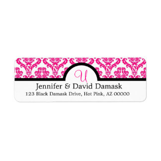 Elegant Monogram U Hot Pink Damask Return Address Label