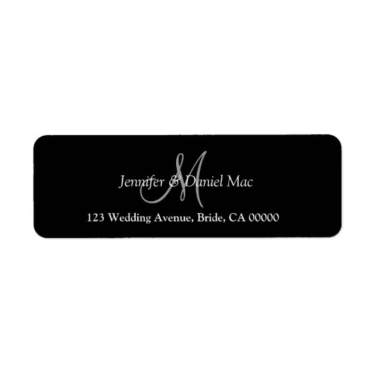 Elegant Monogram Wedding Bride Groom Custom Names Return Address Label