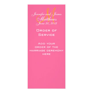 Elegant Monogram Wedding Church Programs Pink Custom Rack Card
