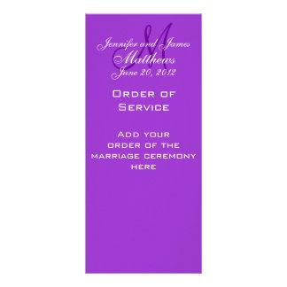 Elegant Monogram Wedding Church Programs Purple Rack Card Template