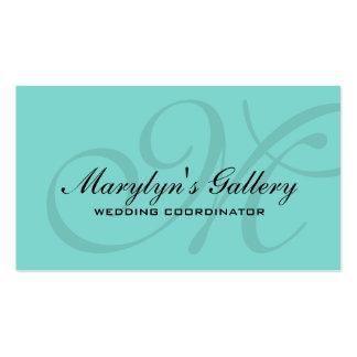 Elegant Monogram Wedding Coordinator teal blue Pack Of Standard Business Cards