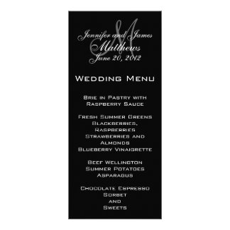 Elegant Monogram Wedding Menu Cards Rack Card