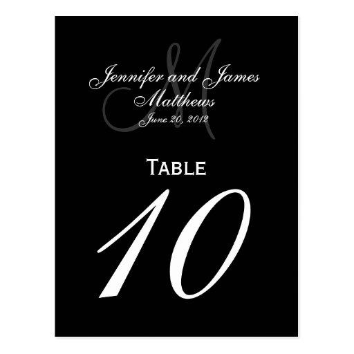 Elegant Monogram Wedding Number Table Cards Post Card