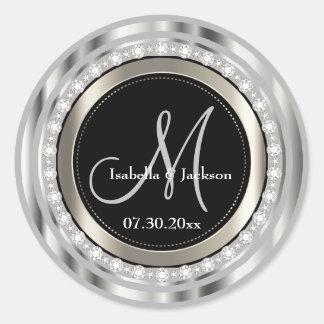 Elegant Monogram Wedding or Anniversary Design Round Sticker