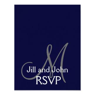 Elegant Monogram Wedding RSVP Card Navy Gray 11 Cm X 14 Cm Invitation Card