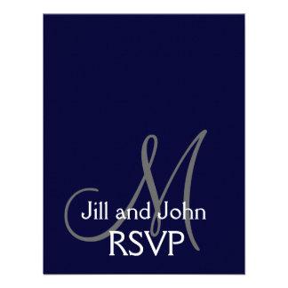 Elegant Monogram Wedding RSVP Card Navy Gray Announcement