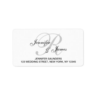 Elegant Monogram Wedding RSVP Return Address Label