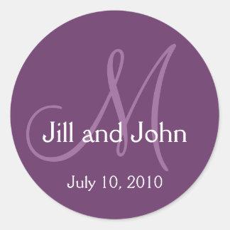 Elegant Monogram Wedding Save Date Purple Sticker