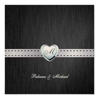 Elegant Monogram Wedding (with wording) Card