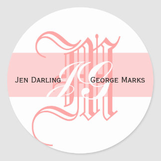 Elegant Monogram White and Pink Wedding Sticker