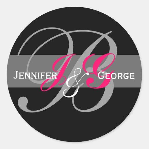 Elegant Monogram White Black Fuchsia Wedding Seal Round Stickers