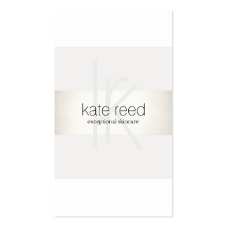 Elegant Monogram White Modern FAUX Silver Striped Pack Of Standard Business Cards